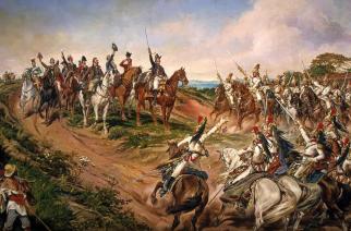 """Fragmento de """"Independência ou Morte!"""", quadro de Pedro Américo que compõe o conjunto mítico do Ipiranga (Reprodução)"""
