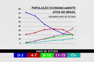 Gráfico mostra a evolução da formação escolar da população economicamente ativa no Brasil