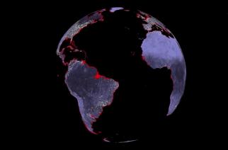 Áreas costeiras ameaçadas pela elevação do nível dos oceanos. fonte: NASA